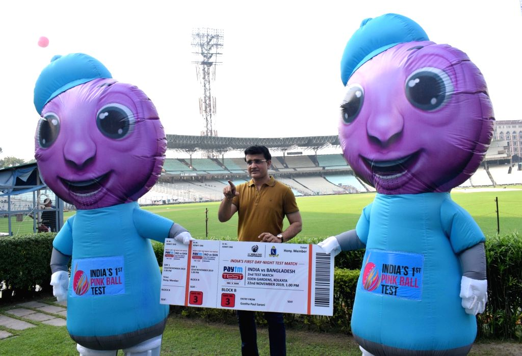 BCCI president Sourav Ganguly displays the ticket of first Day-Night test match between India and Bangladesh at Eden Gardens in Kolkata on Nov. 17, 2019. - Sourav Ganguly