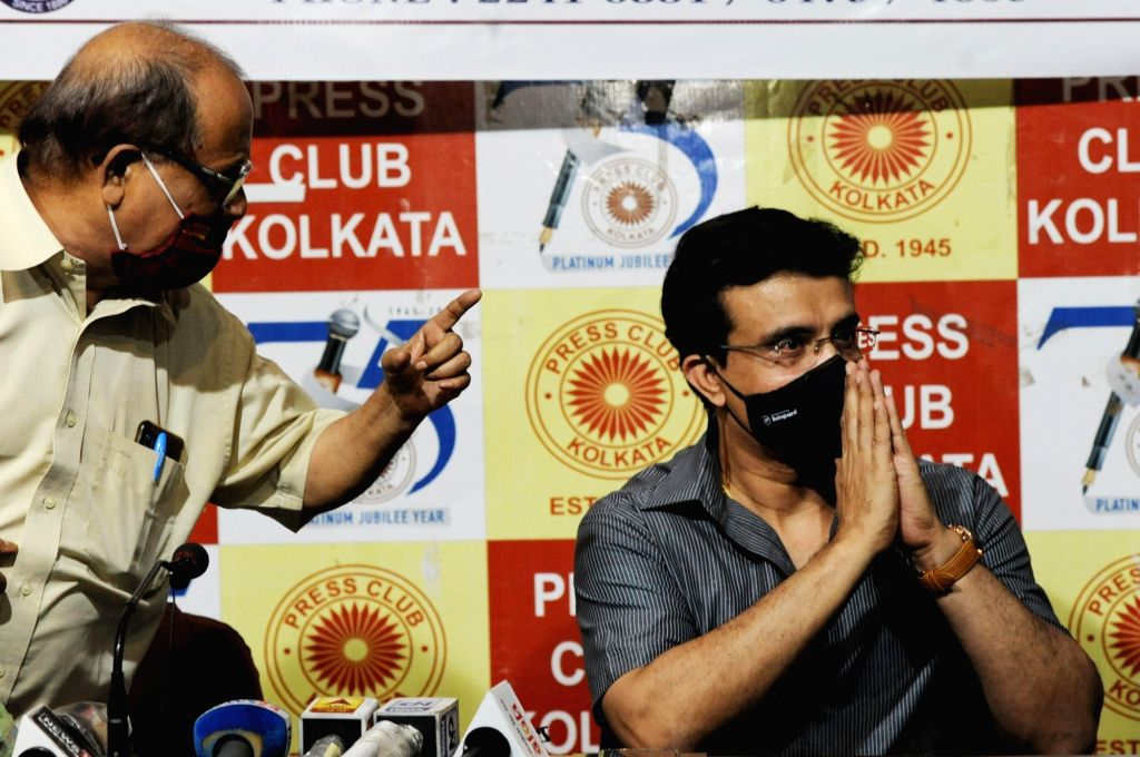 BCCI President Sourav Ganguly with CPI-M leader and Ex Minister Ashok Bhattacharya at the launch of the latter's book at the Press Club in Kolkata on Oct 20, 2020. - Ashok Bhattacharya and Sourav Ganguly