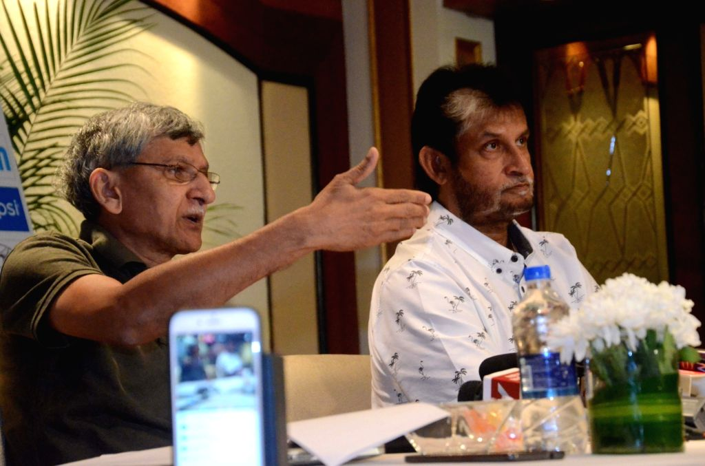 BCCI secretary Ajay Shirke and Indian national cricket team chief selector Sandeep Patil address a press conference to announce the team for three-match series against New Zealand starting ... - Sandeep Patil