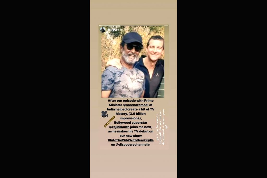 Bear Grylls shared a picture of him and Southern superstar Rajinikanth during the shooting of Discovery's new series 'Into The Wild with Bear Grylls'. Ending speculation, Grylls said Rajinikanth was not injured.