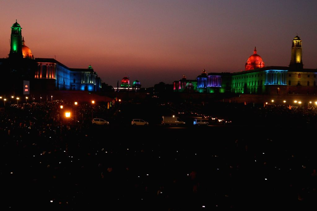 Beating the Retreat Ceremony 2020 underway at Vijay Chowk in New Delhi on Jan 29, 2020.