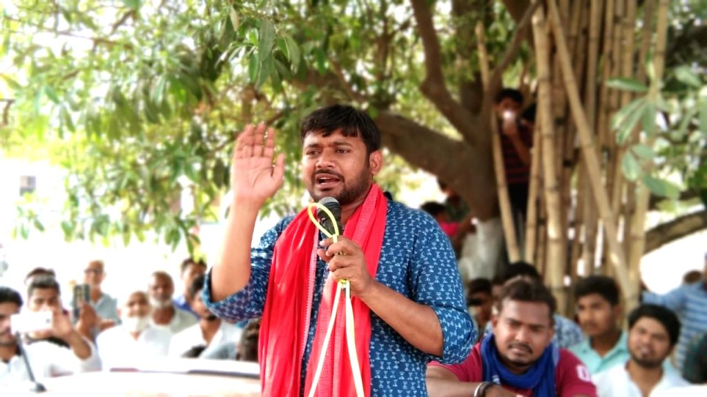 Begusarai: CPI's Lok Sabha candidate from Begusarai, Kanhaiya Kumar addresses during a public rally ahead of 2019 Lok Sabha elections, in Bihar's Begusarai, on April 5, 2019. (Photo: IANS) - Kanhaiya Kumar