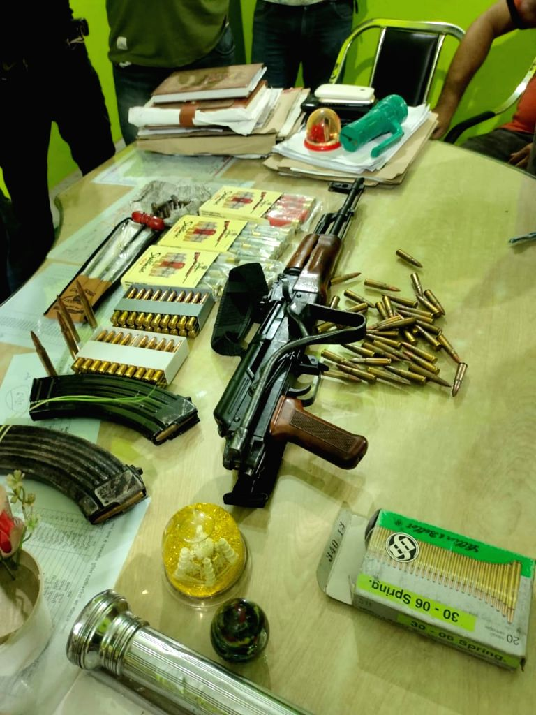 Begusarai SP said that the AK 47 rifle belongs to BJP MLA's cousin brother, And a picture of accused Manjesh alias Bunty alias Bade.