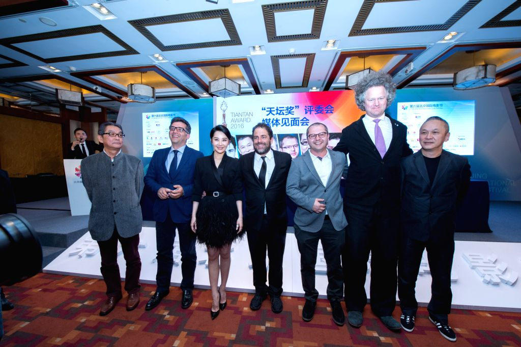 "BEIJING, April 15, 2016 - Brett Ratner (C), executive producer of ""The Revenant"", Teddy Chan (1st R) from China's Hong Kong,  German director Florian Henckel von Donnersmarck (2nd R), ... - Florian Henckel"