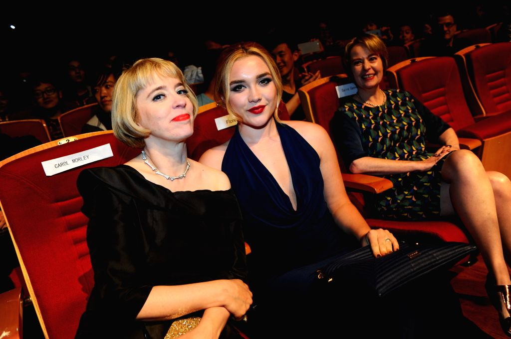 """Director Carol Morley (1st L) and actress Florence Pugh (2nd L) of """"The Falling"""" attend the premiere of the movie as part of the 5th Beijing ... - Florence Pugh"""