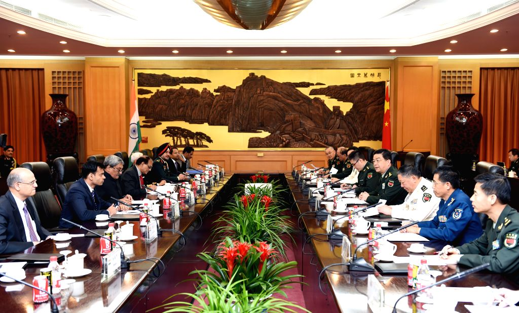 BEIJING, April 18, 2016 - Chinese State Councilor and Defense Minister Chang Wanquan (4th R) holds talks with Indian Defence Minister Manohar Parrikar (3rd L) in Beijing, capital of China, April 18, ... - Chang Wanquan