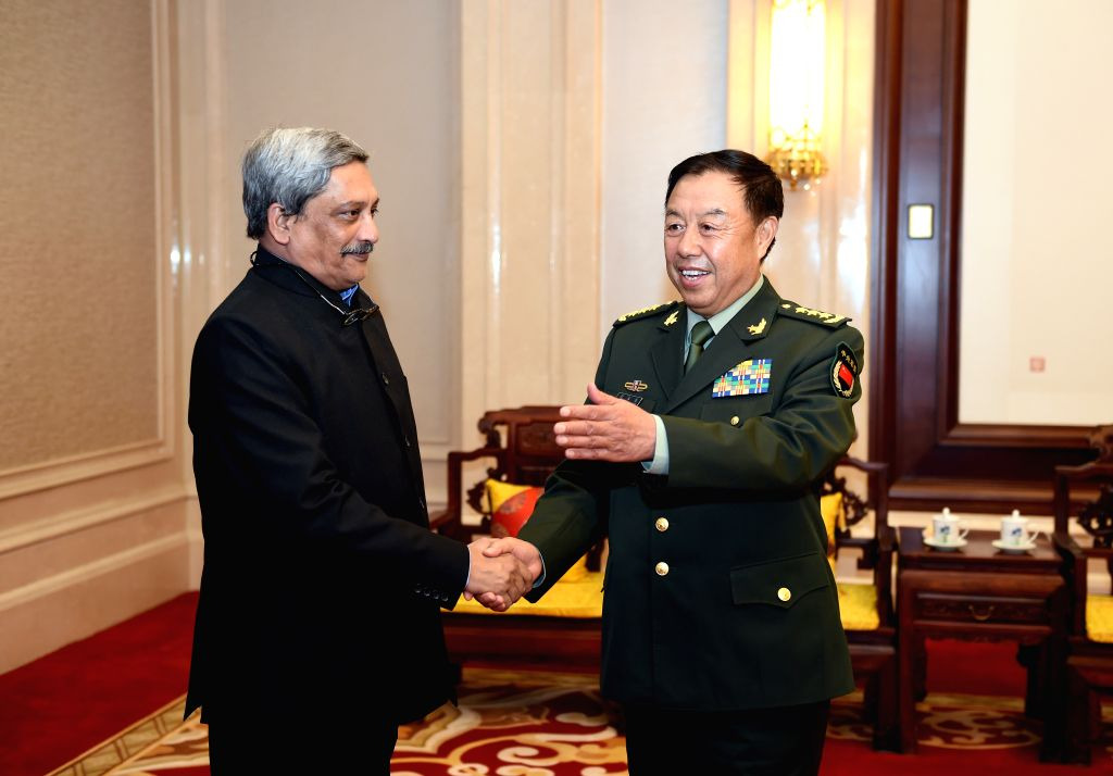 BEIJING, April 18, 2016 - Vice Chairman of China's Central Military Commission Fan Changlong (R) meets with Indian Defense Minister Manohar Parrikar in Beijing, capital of China, April 18, 2016. ... - Manohar Parrikar