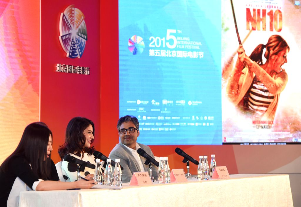 "Leading actress Anushka Sharma (2nd L) of film ""NH10"", answers questions at a press conference during the fifth Beijing International Film Festival ... - Anushka Sharma"
