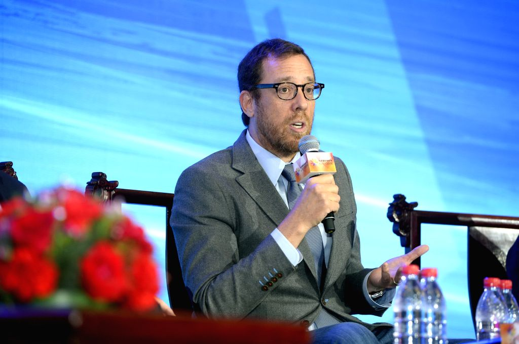 """BEIJING, April 19, 2016 - Rob Minkoff, director of film """"The Lion King"""", speaks at the China-U.S. Film Investments & the Globalization of Chinese Films Forum in Beijing, capital of ..."""