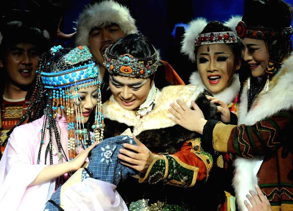 "Opera ""Swan"" is performed at the Poly Theater in Beijing, capital of China, April 19, 2014. Opera ""Swan"" is adapted from a Mongolian legend ..."