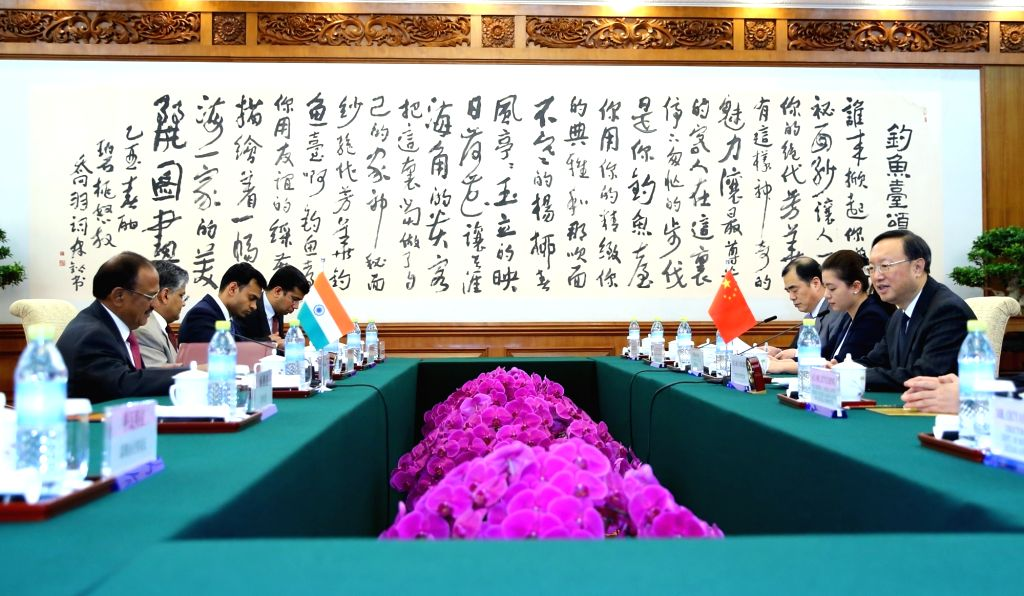 BEIJING, April 20, 2016 - Chinese State Councilor Yang Jiechi (1st R), who is also Chinese special representative on China-India boundary issues, meets with his Indian counterpart, Indian National ...