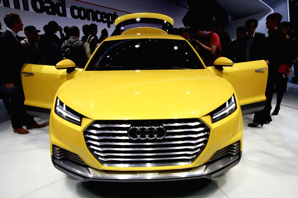 A new type of Audi automobile is displayed during the media preview of the 2014 Beijing International Automotive Exhibition in Beijing, China, April 20, 2014. The .