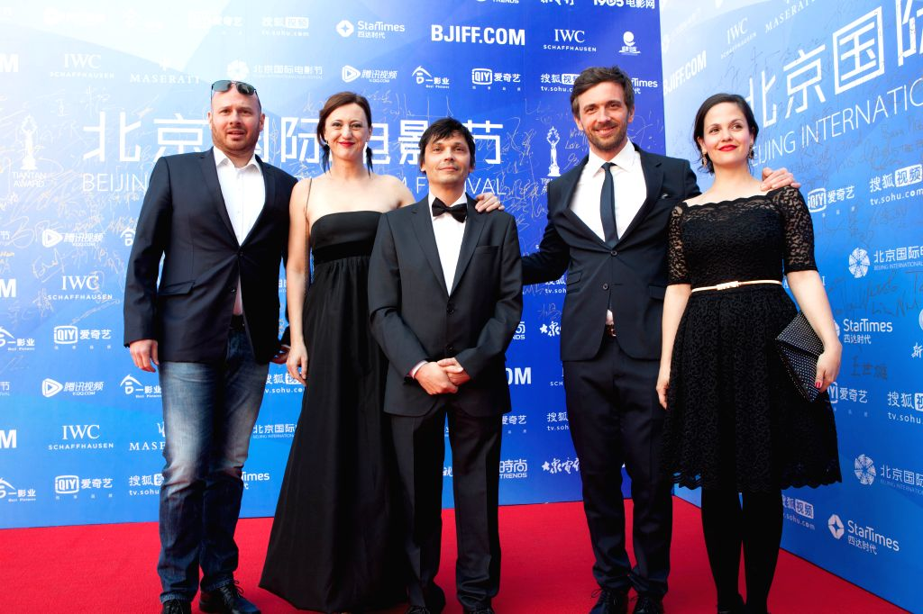"""Cast members of the movie """"Children"""" attend the premiere of the movie in Beijing, capital of China, April 20, 2015. """"Children"""" is one of the ..."""