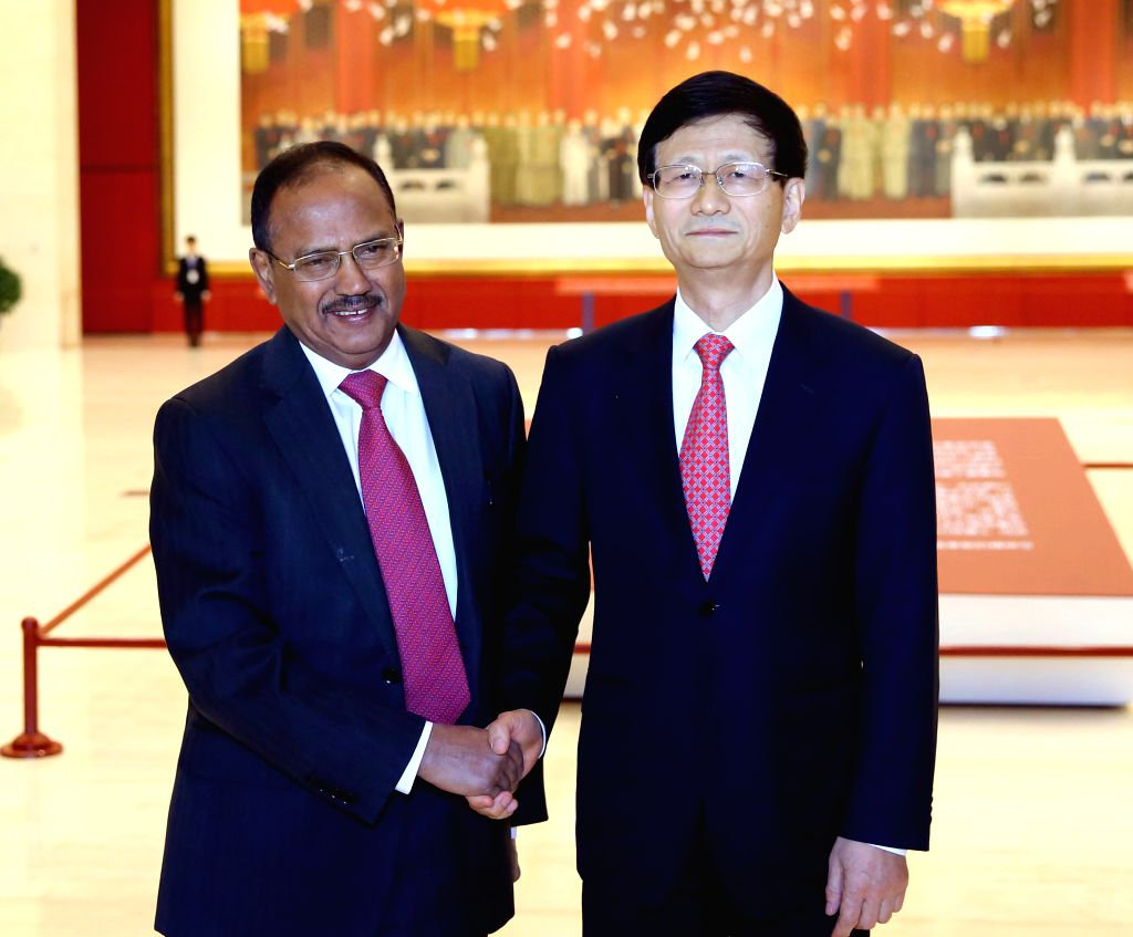 BEIJING, April 21, 2016 - Meng Jianzhu (R), chief of the Central Commission for Political and Legal Affairs of the Communist Party of China, meets with Ajit Doval, India's national security advisor ...