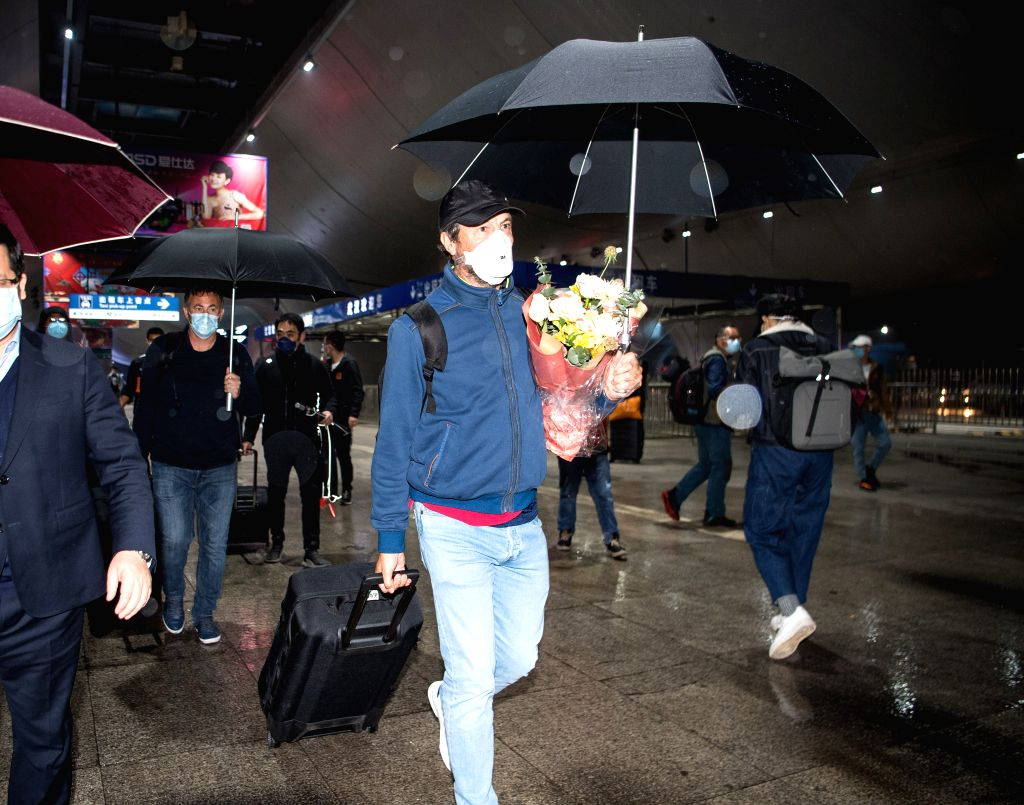 Beijing, April 23 (IANS) Wuhan Zall, which has returned home from an odyssey of over three months, has resumed training at their base amid coronavirus restrictions.(Xinhua/Xiao Yijiu/IANS)