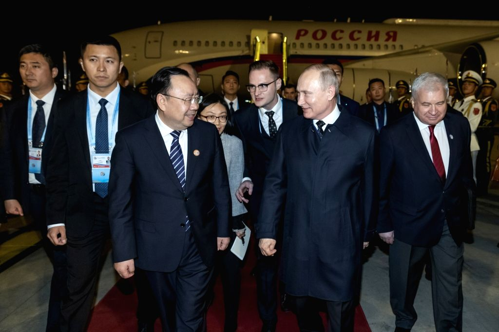 BEIJING, April 25, 2019 - Russian President Vladimir Putin arrives in Beijing, capital of China, April 25, 2019, to attend the Second Belt and Road Forum for International Cooperation.