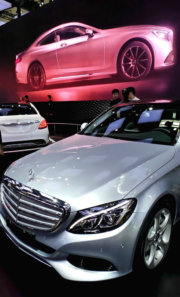 A Mercedes C-class car is displayed during the ongoing Beijing International Automotive Exhibition in Beijing, capital of China, April 25, 2014. (Xinhua/Li ...