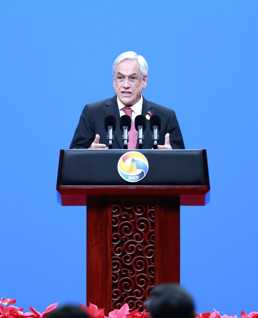 BEIJING, April 26, 2019 - Chilean President Sebastian Pinera addresses the opening ceremony of the Second Belt and Road Forum for International Cooperation at the China National Convention Center in ...