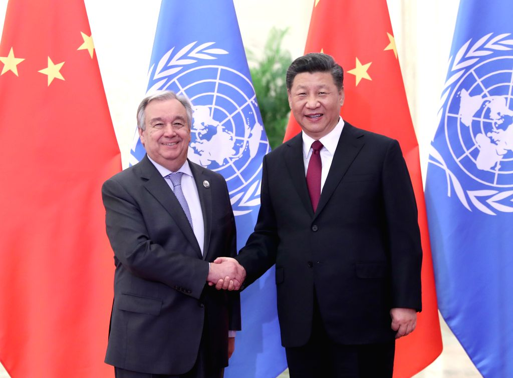 BEIJING, April 26, 2019 - Chinese President Xi Jinping (R) meets with United Nations (UN) Secretary-General Antonio Guterres, who is attending the Second Belt and Road Forum for International ...