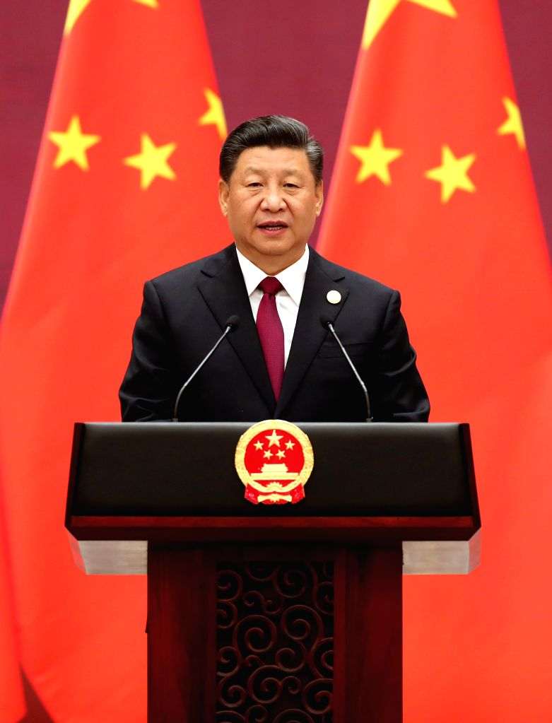 BEIJING, April 26, 2019 - Chinese President Xi Jinping addresses a banquet hosted by him and his wife Peng Liyuan in honor of guests attending the Second Belt and Road Forum for International ...