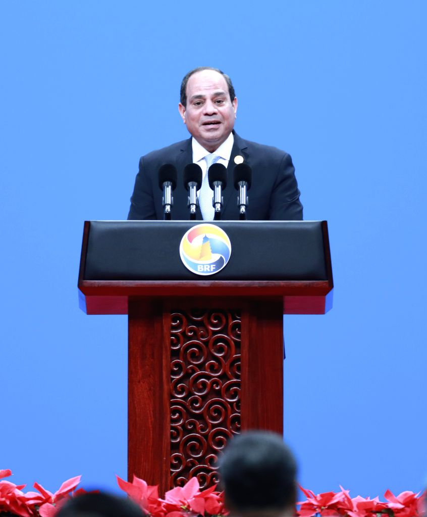 BEIJING, April 26, 2019 - Egyptian President Abdel-Fattah al-Sisi addresses the opening ceremony of the Second Belt and Road Forum for International Cooperation at the China National Convention ...