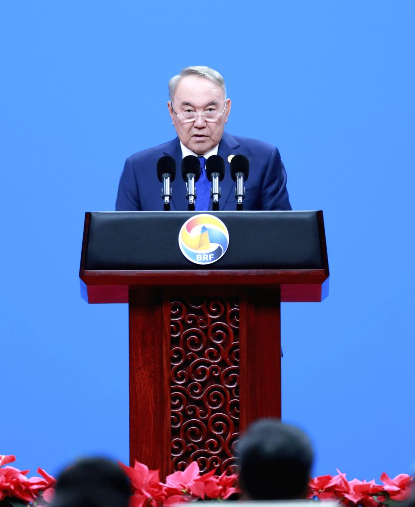 BEIJING, April 26, 2019 - Former Kazakh President Nursultan Nazarbayev addresses the opening ceremony of the Second Belt and Road Forum for International Cooperation at the China National Convention ...