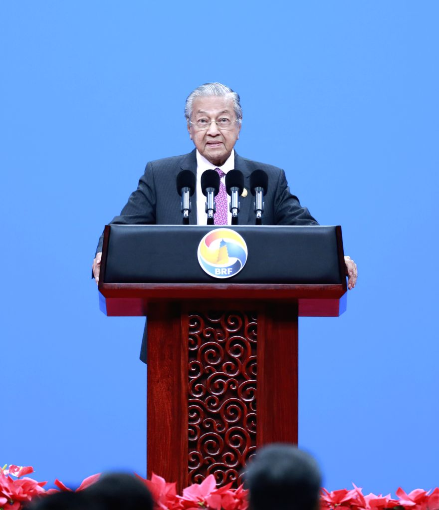 BEIJING, April 26, 2019 - Malaysian Prime Minister Mahathir Mohamad addresses the opening ceremony of the Second Belt and Road Forum for International Cooperation at the China National Convention ... - Mahathir Mohamad