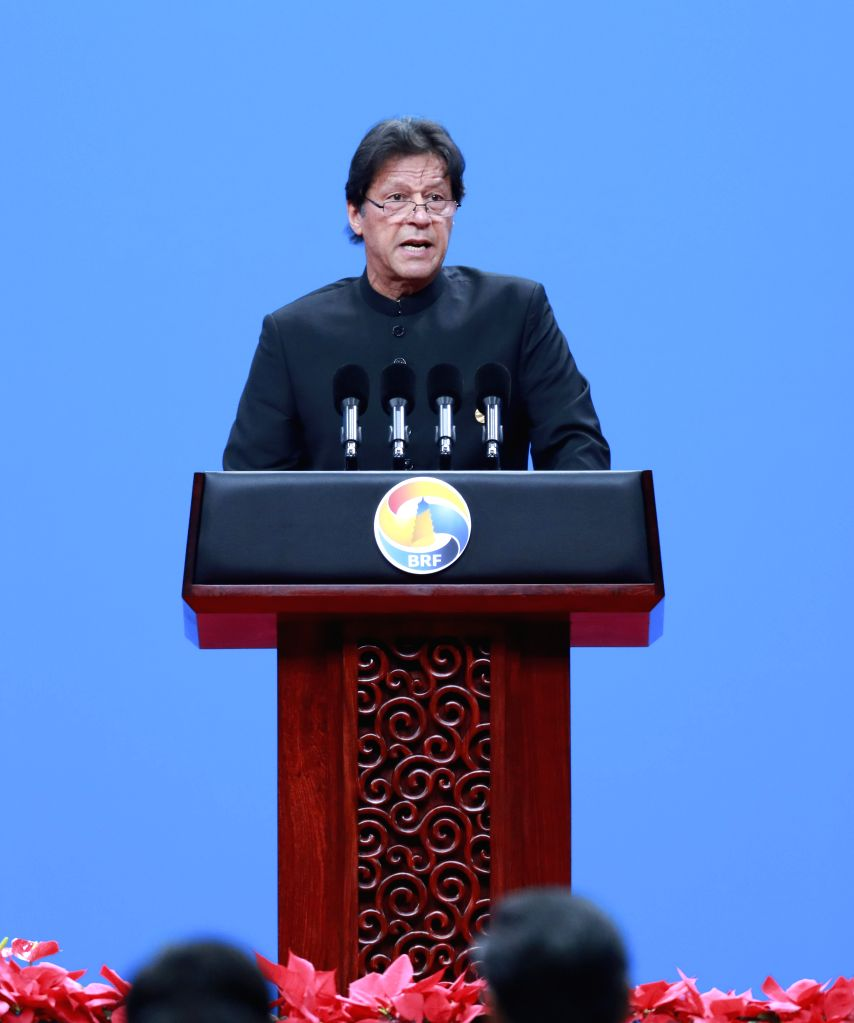 BEIJING, April 26, 2019 - Pakistani Prime Minister Imran Khan addresses the opening ceremony of the Second Belt and Road Forum for International Cooperation at the China National Convention Center in ... - Imran Khan