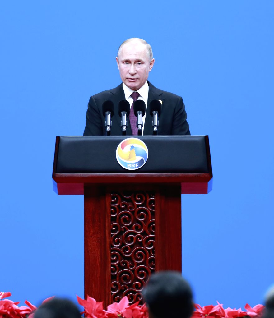BEIJING, April 26, 2019 - Russian President Vladimir Putin addresses the opening ceremony of the Second Belt and Road Forum for International Cooperation at the China National Convention Center in ...