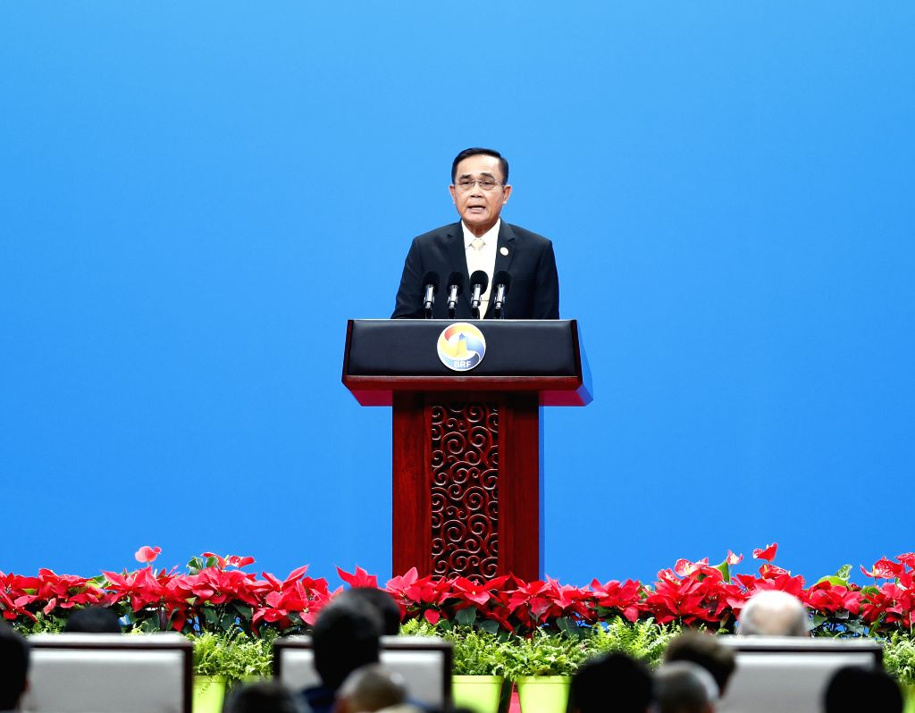 BEIJING, April 26, 2019 - Thai Prime Minister Prayut Chan-o-cha addresses the high-level meeting of the Second Belt and Road Forum for International Cooperation in Beijing, capital of China, April ... - Prayut Chan