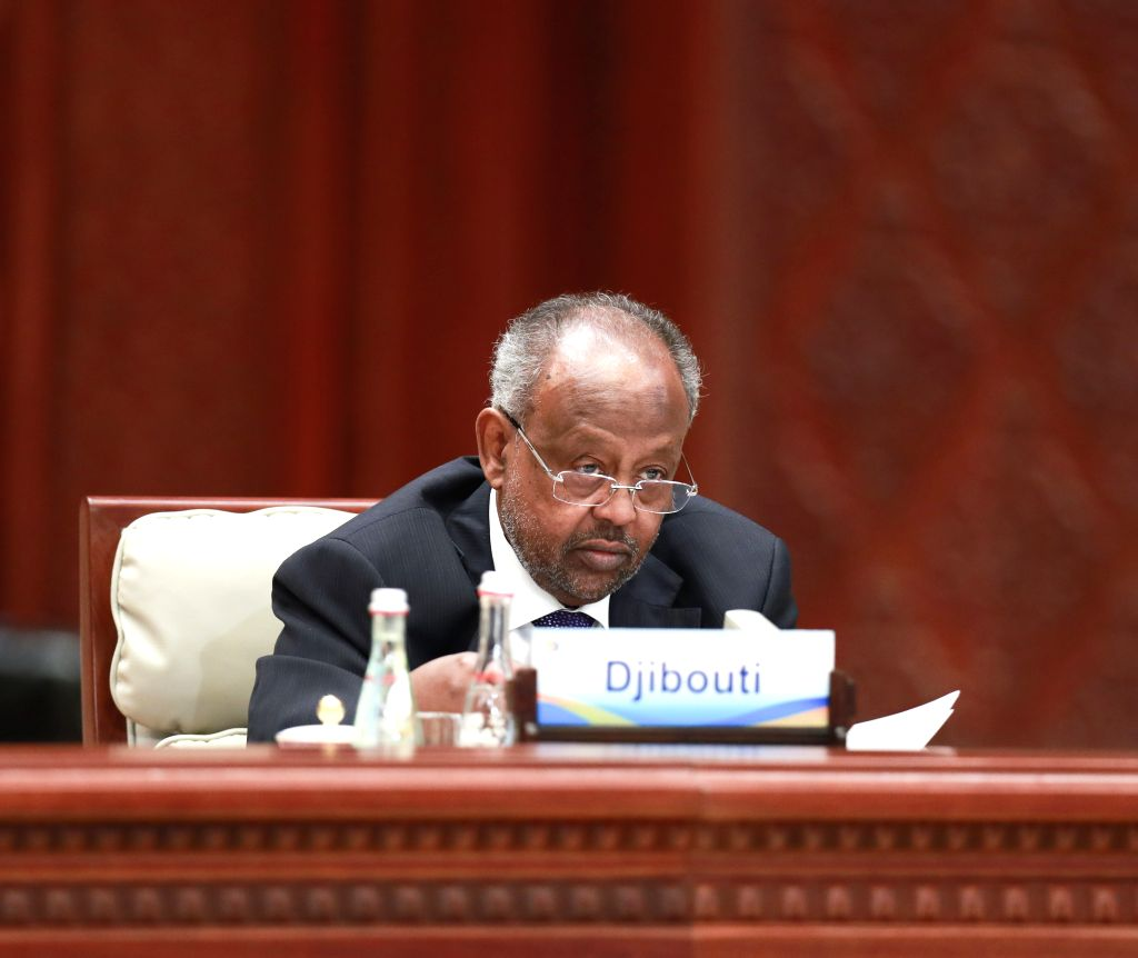 BEIJING, April 27, 2019 - Djiboutian President Ismail Omar Guelleh speaks at the leaders' roundtable meeting of the Second Belt and Road Forum for International Cooperation at the Yanqi Lake ...
