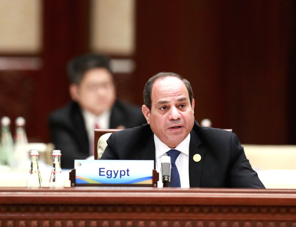 BEIJING, April 27, 2019 - Egyptian President Abdel-Fattah al-Sisi speaks at the leaders' roundtable meeting of the Second Belt and Road Forum for International Cooperation at the Yanqi Lake ...