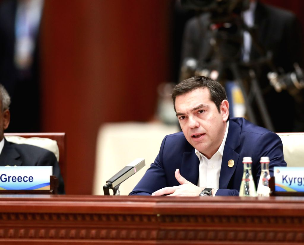 BEIJING, April 27, 2019 - Greek Prime Minister Alexis Tsipras speaks at the leaders' roundtable meeting of the Second Belt and Road Forum for International Cooperation at the Yanqi Lake International ... - Alexis Tsipras