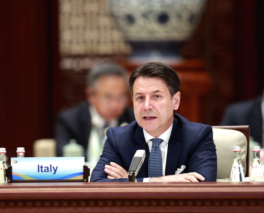 BEIJING, April 27, 2019 - Italian Prime Minister Giuseppe Conte speaks at the leaders' roundtable meeting of the Second Belt and Road Forum for International Cooperation at the Yanqi Lake ... - Giuseppe Conte