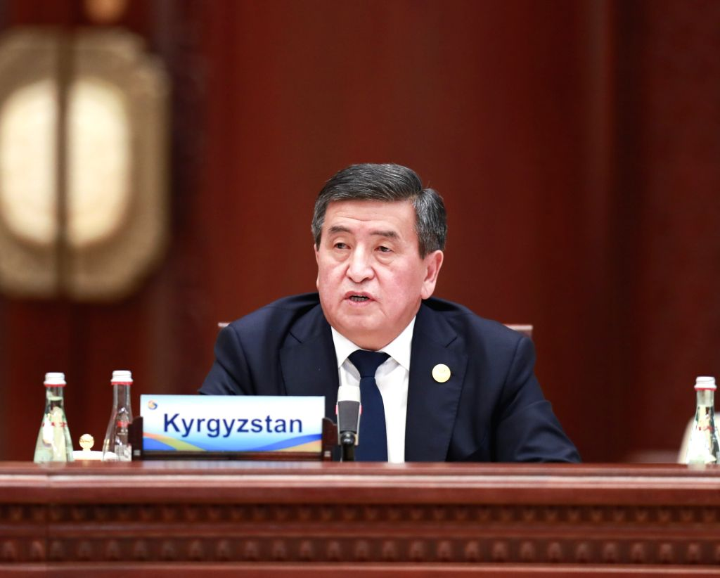 BEIJING, April 27, 2019 - Kyrgyz President Sooronbay Jeenbekov speaks at the leaders' roundtable meeting of the Second Belt and Road Forum for International Cooperation at the Yanqi Lake ...