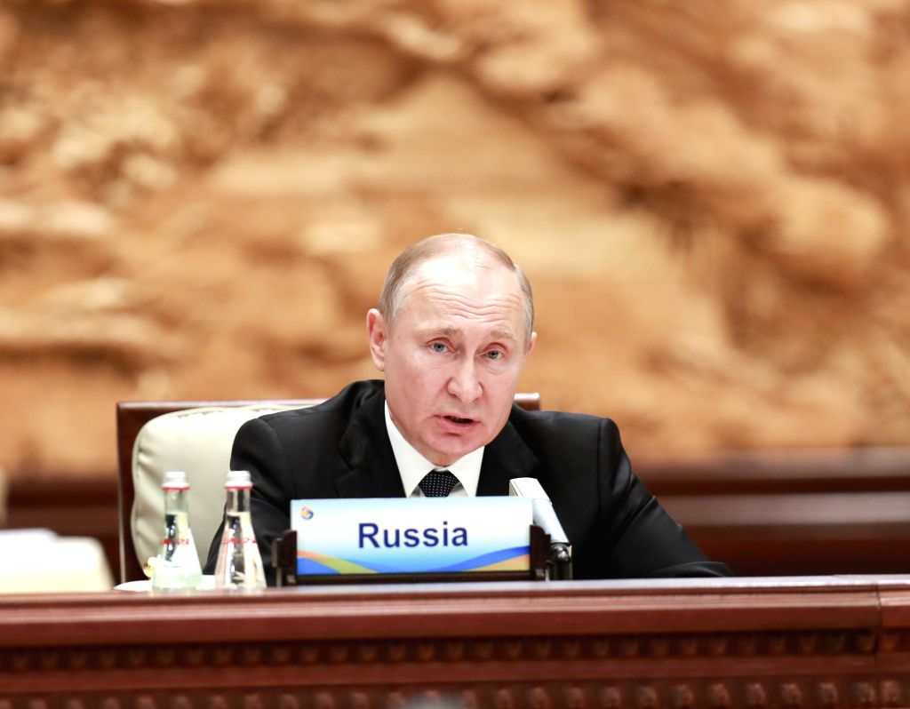 BEIJING, April 27, 2019 - Russian President Vladimir Putin speaks at the leaders' roundtable meeting of the Second Belt and Road Forum for International Cooperation at the Yanqi Lake International ...