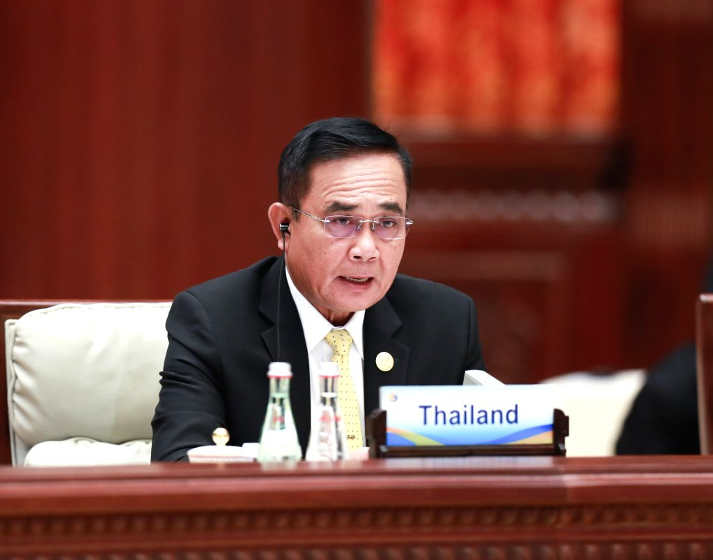 BEIJING, April 27, 2019 - Thai Prime Minister Prayut Chan-o-cha speaks at the leaders' roundtable meeting of the Second Belt and Road Forum for International Cooperation at the Yanqi Lake ... - Prayut Chan