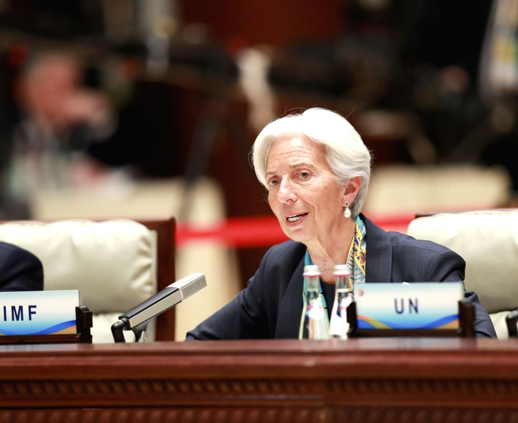 BEIJING, April 27, 2019 - The International Monetary Fund (IMF) Managing Director Christine Lagarde speaks at the leaders' roundtable meeting of the Second Belt and Road Forum for International ...