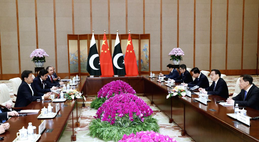 BEIJING, April 28, 2019 - Chinese Premier Li Keqiang meets with Pakistani Prime Minister Imran Khan at the Diaoyutai State Guesthouse in Beijing, capital of China, April 28, 2019. - Imran Khan