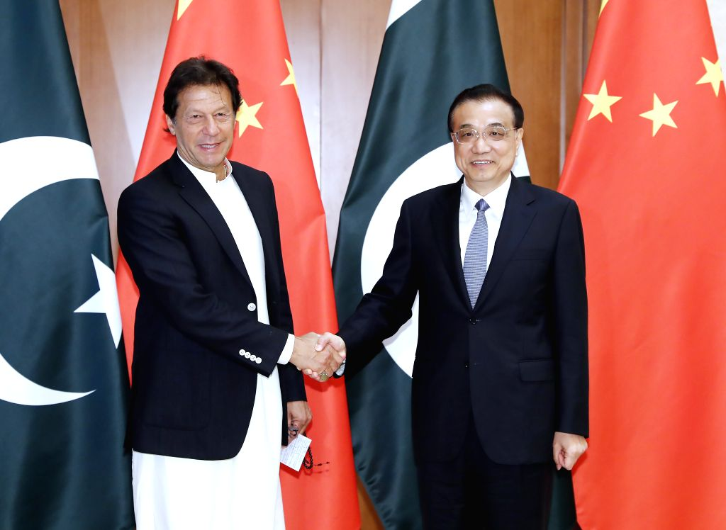 BEIJING, April 28, 2019 - Chinese Premier Li Keqiang (R) meets with Pakistani Prime Minister Imran Khan at the Diaoyutai State Guesthouse in Beijing, capital of China, April 28, 2019. - Imran Khan