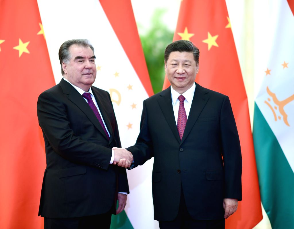 BEIJING, April 28, 2019 - Chinese President Xi Jinping (R) meets with Tajik President Emomali Rahmon at the Great Hall of the People in Beijing, capital of China, April 28, 2019.