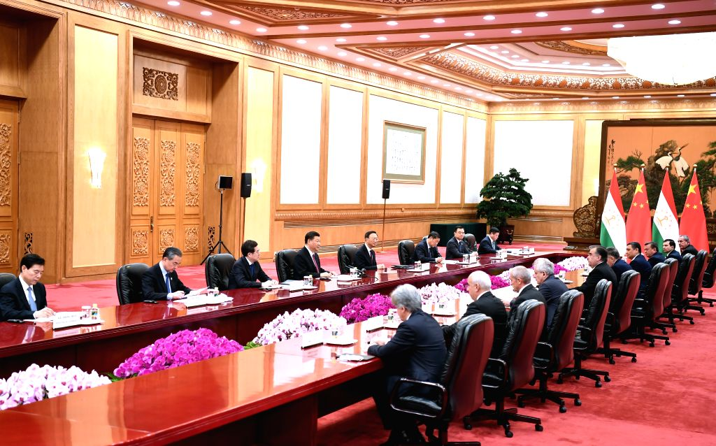 BEIJING, April 28, 2019 - Chinese President Xi Jinping meets with Tajik President Emomali Rahmon at the Great Hall of the People in Beijing, capital of China, April 28, 2019.