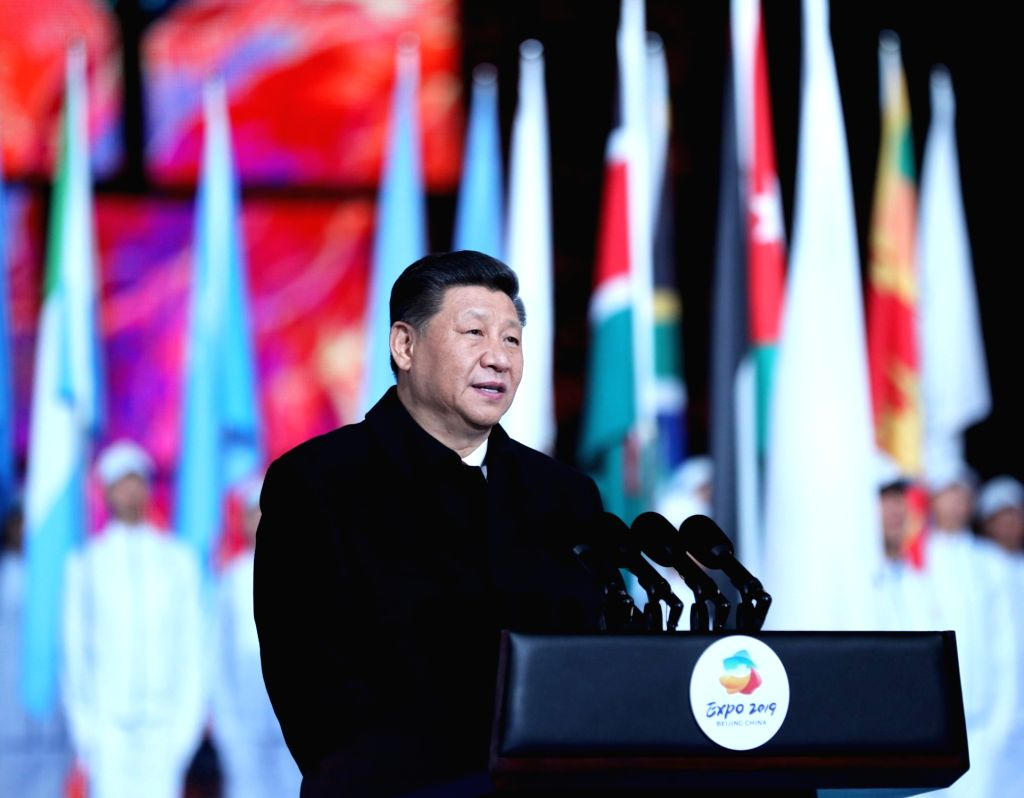 BEIJING, April 28, 2019 - Chinese President Xi Jinping delivers a speech at the opening ceremony of the International Horticultural Exhibition 2019 Beijing in Yanqing District of Beijing, capital of ...