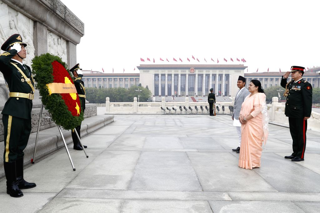 BEIJING, April 29, 2019 - Nepali President Bidhya Devi Bhandari lays a wreath at the Monument to the People's Heroes at the Tian'anmen Square in Beijing, capital of China, April 29, 2019.
