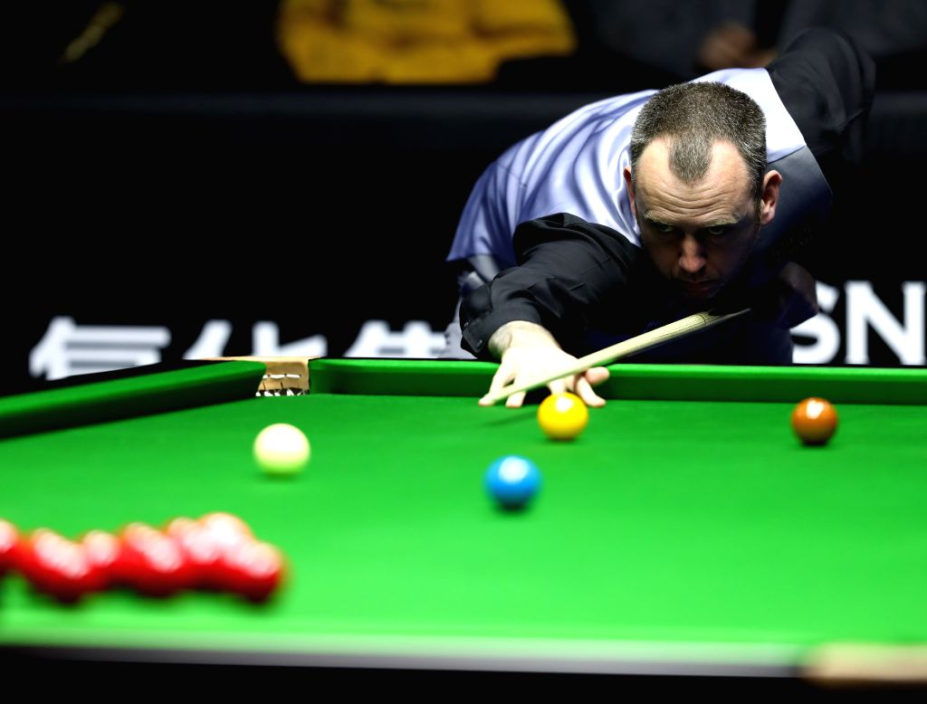 BEIJING, April 6, 2018 - Mark Williams of Wales competes during the quarterfinal match against Mark Selby of England at 2018 World Snooker China Open tournament in Beijing, capital of China, April 6, ...