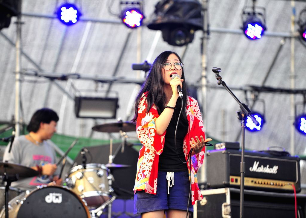 """The music band """"CoolTea"""" performs at the Modern Music Festival in Beijing, capital of China, Aug. 29, 2014. The music festival, which kicked off on Aug. .."""