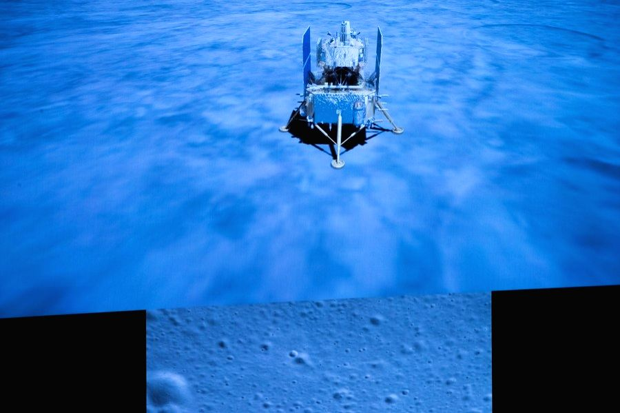 Beijing, Dec. 1 (Xinhua) --  China's Chang'e-5 spacecraft successfully lands on the near side of the moon, Dec. 1, 2020. (Xinhua/IANS)