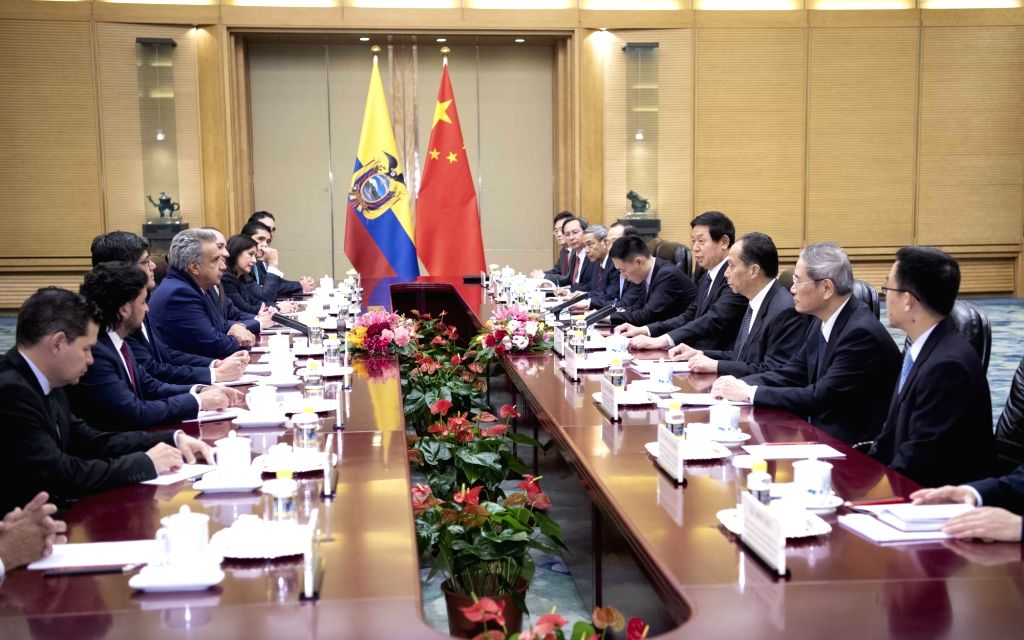 BEIJING, Dec. 13, 2018 - Li Zhanshu, chairman of the National People's Congress (NPC) Standing Committee, meets with visiting Ecuadorian President Lenin Moreno at the Great Hall of the People in ...