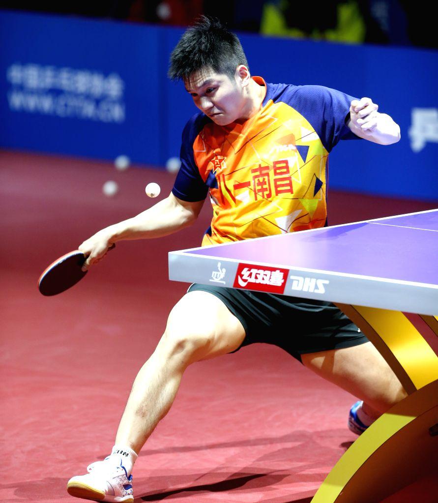 BEIJING, Feb. 1, 2019 - Fan Zhendong of Bayi hits a return during the men's semifinal match between Bayi and Tianjin at Chinese Table Tennis Super League (CTTSL) in Beijing, capital of China, Feb. 1, ...
