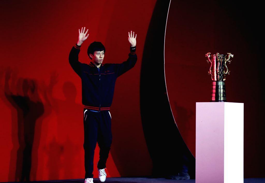BEIJING, Feb. 1, 2019 - Lin Gaoyuan of Tianjin reacts before the men's semifinal match between Bayi and Tianjin at Chinese Table Tennis Super League (CTTSL) in Beijing, capital of China, Feb. 1, ...